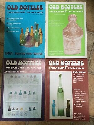 4 x OLD BOTTLES AND TREASURE HUNTING magazines from 1976 VINTAGE AND RARE