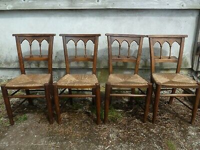 4 ANTIQUE CHURCH CHAPEL CHAIRS rush seats VICTORIAN gothic