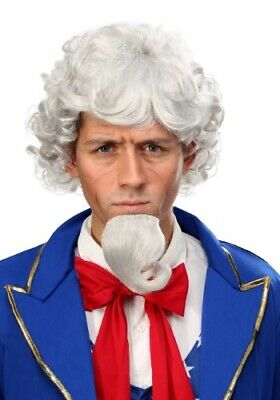 Uncle Sam Wig and Beard Set Theatrical Halloween Costume Accessory