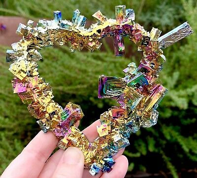 Rainbow Bismuth Heart Shape Iridescent Crystal Cluster Mineral Specimen Colorful