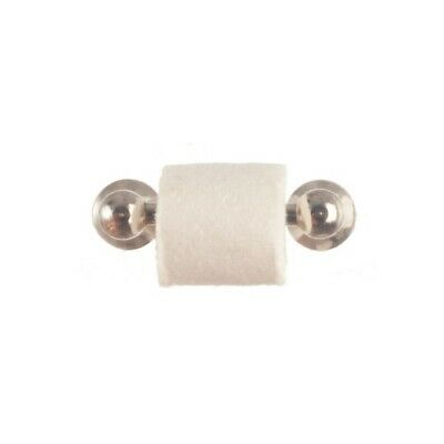 Dollhouse Miniature Towel and Toilet Paper Roll Bar in Silver ~ IM65651