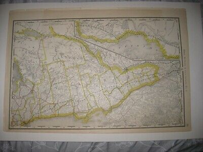 LARGE VINTAGE ANTIQUE 1889 ONTARIO No. 2 RAILROAD & STOPS MAP DETAILED SUPERB NR