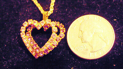 bling gold plated pink purple heart cubic iced pendant charm hip hop necklace gp