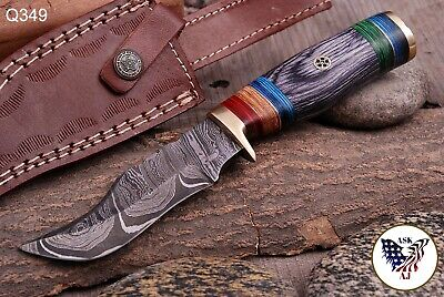 CUSTOM HAND FORGED DAMASCUS STEEL Hunting KNIFE W/ Wood Brass Guard HANDLE-Q 349
