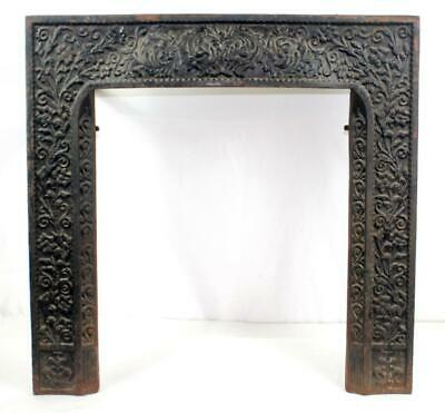 Ornate Antique Late 1800s Art Nouveau Cast Iron Fireplace Frame Surround