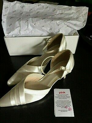 Women's Ivory Satin Wedding Bridal Shoes size 7 Pink by Paradox Boxed £74.95