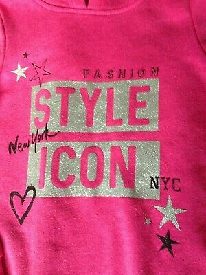 Girls Pink Hoodie NEW YORK FASHION STYLE ICON TOP 8 - 9 years Glitter Sparkle
