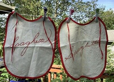2 Vintage Spaghetti Bibs ADULT Hand Embroidered Red & White
