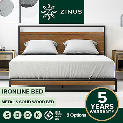Zinus Ironline Metal and Wood  Bed Frame