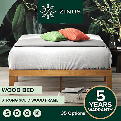 Zinus Moiz QUEEN DOUBLE KING SINGLE Bed Base Solid Timber Wood Slat Steel Frame