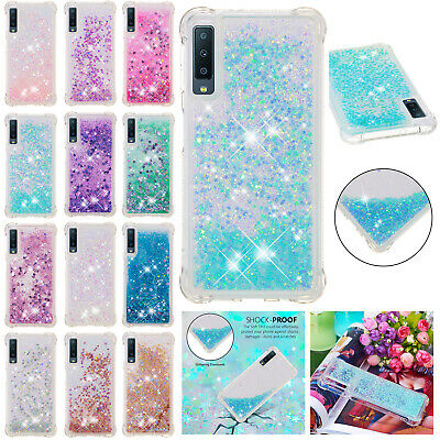 For Samsung A70 A50 A30 A10 A20 M10 M20 M30 Glitter Quicksand Rubber Bling Case