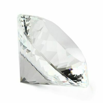 80mm Crystal Glass Paperweight Clear Diamond Shaped Gem Wedding Display Gift New