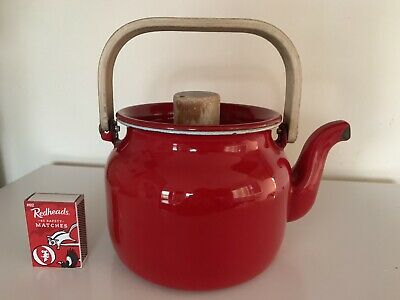 Vintage Email Teapot - Enamel - Jug - Coffee - Red- Honey Your Life