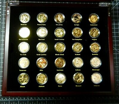 BOXED SET(50) OF 24 Carat GOLD PLATED USA STATE QUARTER DOLLAR COINS