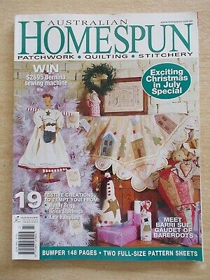 Australian Homespun #30~Xmas~Quilt~Tree Skirt~Angel~Record Book~Embroidery~Santa
