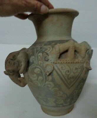 ANTIQUE 17thc THAI SUKHOTHAI ELEPHANT HEADED LARGE KLONG WATER  VASE