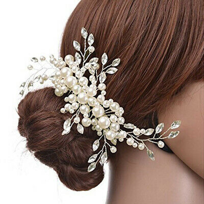 Wedding Bridal Hair Comb Crystal Pearl Headpiece Side Hair Pin Clip Accessories