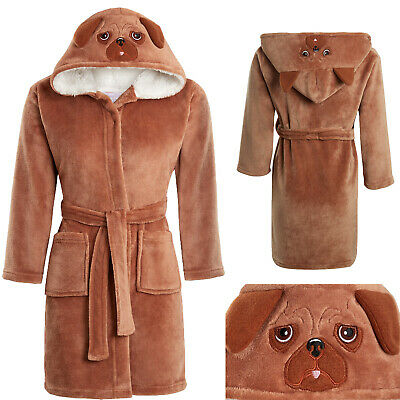 Boys Girls Soft & Cosy Fleece 3D PUG Dressing gown Bathrobe Ages 5 - 13 years
