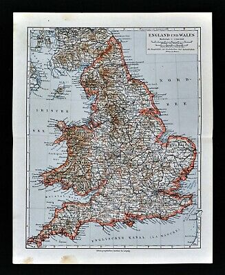 1900 Meyers Map England Wales London Liverpool Oxford Newcastle Great Britain