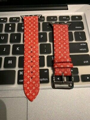 RED Custom Louis Vuitton Apple Watch Band Strap 38 40 42 44mm
