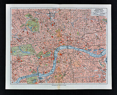 1900 Meyers Map London City Plan Hyde Park Bridges Palaces Monuments England