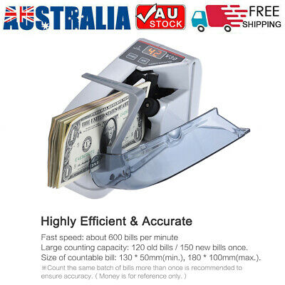 Handy Money Bill Cash Counter Two- Way Powered Battery/AC 100-240V US Plug M1O8