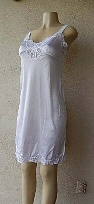 Ilusion Full Slip Vintage SEXY White NYLON LACY Sz 34 Great Fined Wide Straps