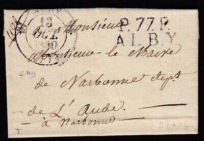 Marque P77P Alby Albi Tarn + Cad Type 12 1830 Narbonne Aude Lettre Cover France