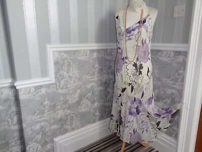 Lilac Ivory Silk Country Casuals  1920S 1930S Art Deco  Dress Size 18 Wedding