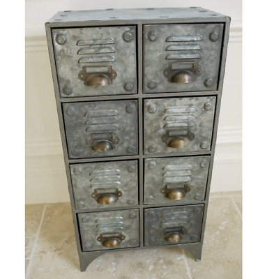 Small 8 Drawer Industrial Cabinet Cup Handles Bronzed Vents Distressed Storage