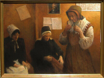 LISTED Olaf Palm PROFOUND Im pressionist 3 Women in Room Large Oil Painting NR