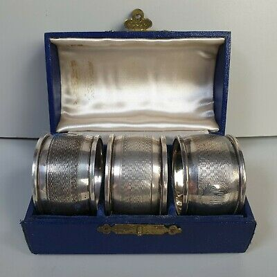 Antique Mappin & Webb Boxed Set Of 3 Hallmarked Silver Napkin Rings 1929 111g