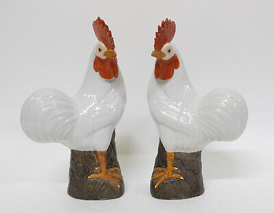 Pair Antique 19th century Chinese Export Porcelain Bird Figures of Chickens