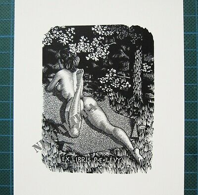 EX LIBRIS Bookplate Mark SEVERIN 178 Levy naked woman on belly in forest erotic