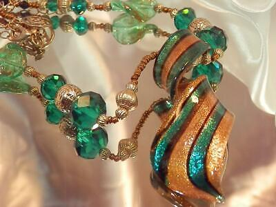Gorgeous Emerald Green Gold Art Glass Vintage 1970's EL Signed  Necklace 711jl9
