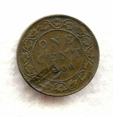 Canada  ~ 1906 ~ Large Cent ~ Vf ~ Major Planchet Lamination Error Reverse