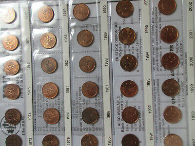 Set of Canada Small Cents (1920-2012,1924,26). NICE GRADES BROWN UNI-SAFE (SR09)