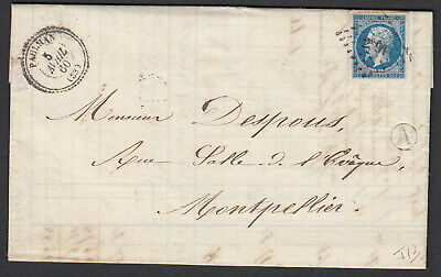 N°14 Pc 2391 Paulhan Herault Cad Type 22 Montpellier Lettre Cover France