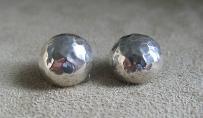 Vintage Sterling Silver Hammered Dome Earrings
