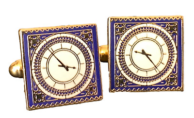 Big Ben Clock Face London Enamel Crested Cufflinks (N20) Gift Bagged