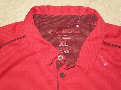 Calvin Klein Jeans  Men's Golf Polo Shirt Red Black Xl Used Polyester