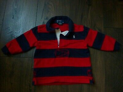 Polo Ralph Lauren Boys 12 Month Red Blue Striped Ls Rugby Polo Shirt~Mint Condt