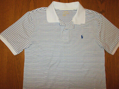 Ralph Lauren Performance Short Sleeve Striped Polo Shirt Boys Large Excellent