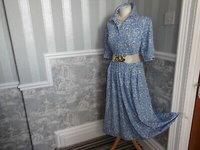 Vintage Blue White 1930S 1940S 1950S Style Tea Dance Wwii Dress Size 18 Goodwood