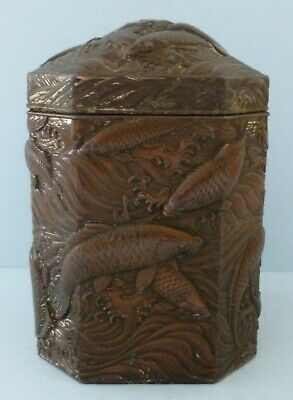 Antique Japanese Chinese Koi Carp Fish Tea Caddy Box Tin Bronze Pewter Rare