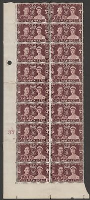 King George VI 1937 Coronation 1½d Maroon Block of 18 Mint SG461 Control A37