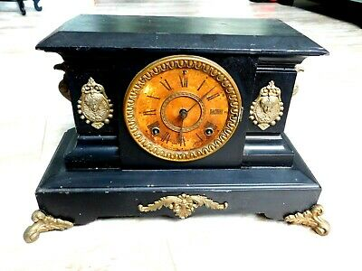 Beautiful Ansonia Antique Cast Iron Mantle Clock - Eagles