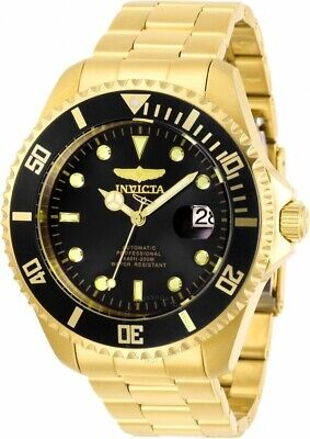 Invicta Pro Diver 24 Jewels Automatic Black Dial Gold Steel Men's Watch 28948 SD