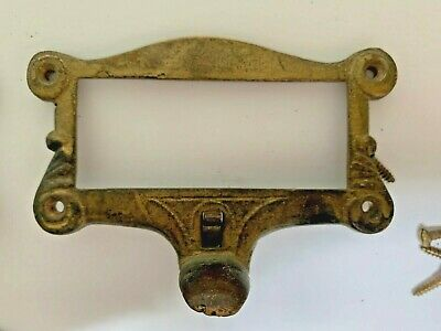 RECLAIMED VICTORIAN Antique Brass Amberg Ohmer Label Holder Pull