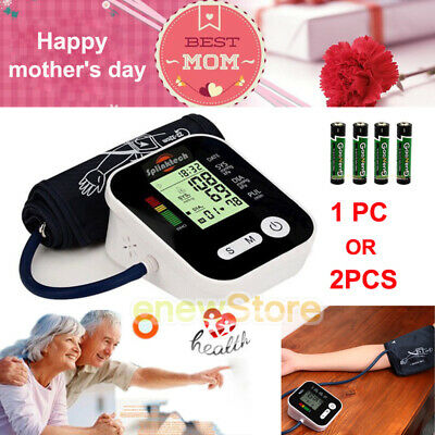 2PCS LCD Push Button Automatic Upper Arm Blood Pressure Cuff Monitor w/Case Kit